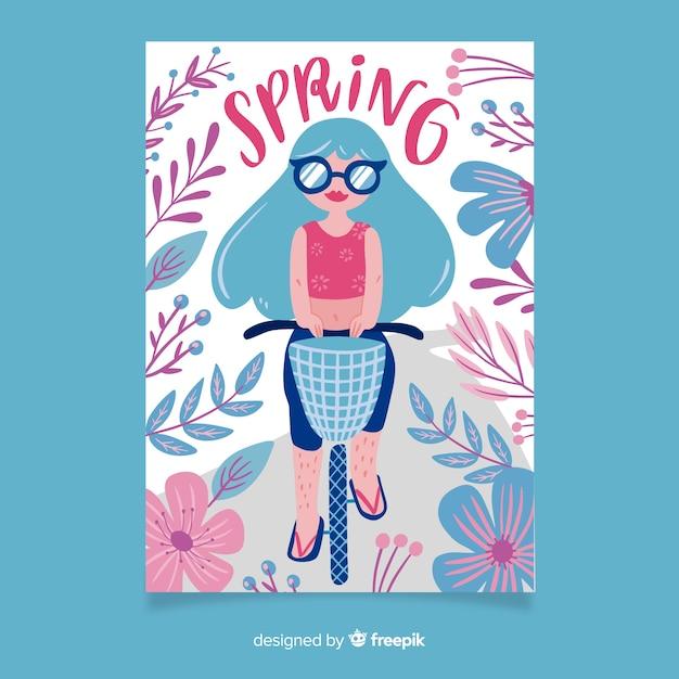 Hand getekend voorjaar poster collectie Gratis Vector