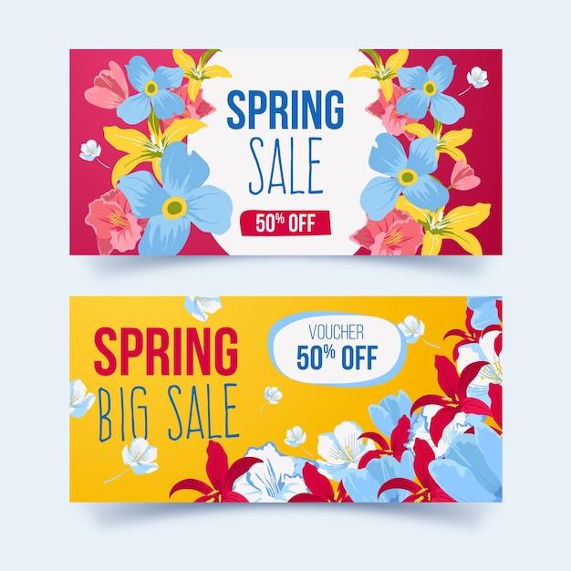 Hand getekend voorjaar verkoop banners Gratis Vector