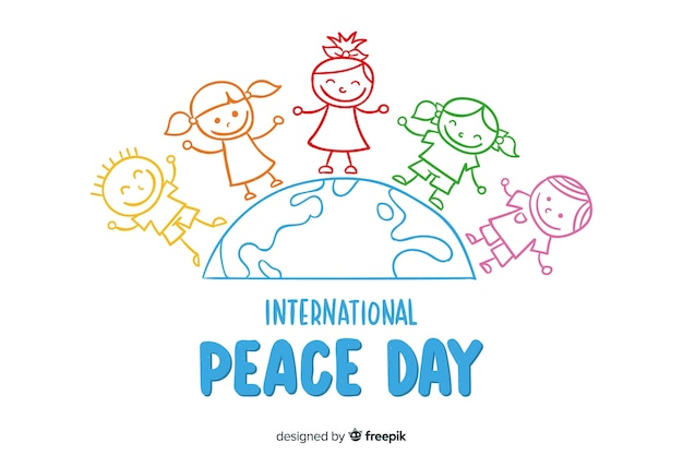 Hand getekend vredesdag achtergrond Gratis Vector