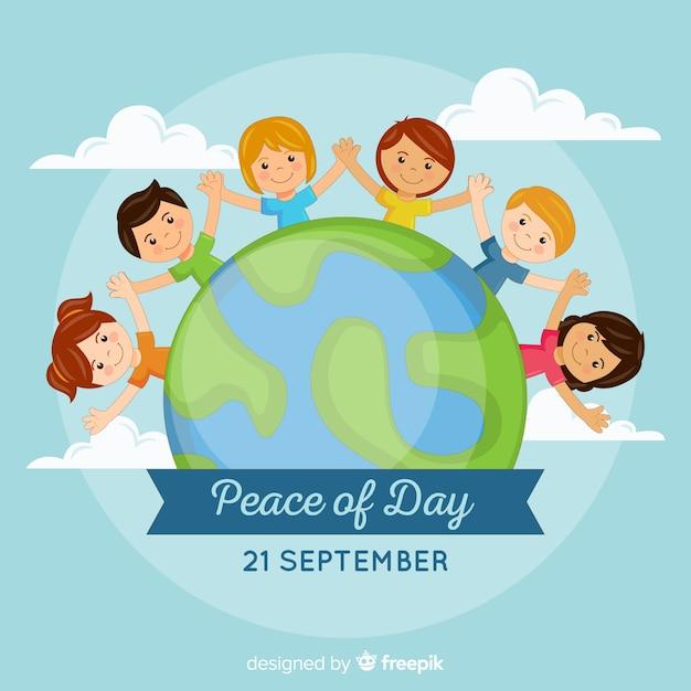 Hand getekend vredesdag met kinderen hand in hand Gratis Vector
