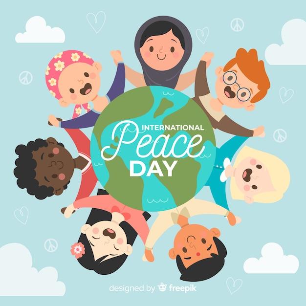 Hand getekend vredesdag met kinderen Gratis Vector