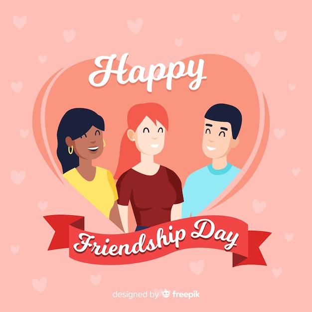 Hand getekend vriendschap dag achtergrond Gratis Vector