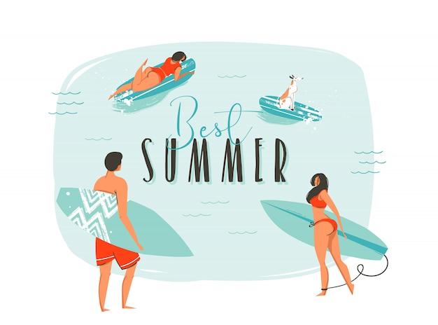 Hand getekend wasbeer zomertijd leuke illustratie met gelukkige familie surfers met lange planken en moderne typografie offerte Premium Vector