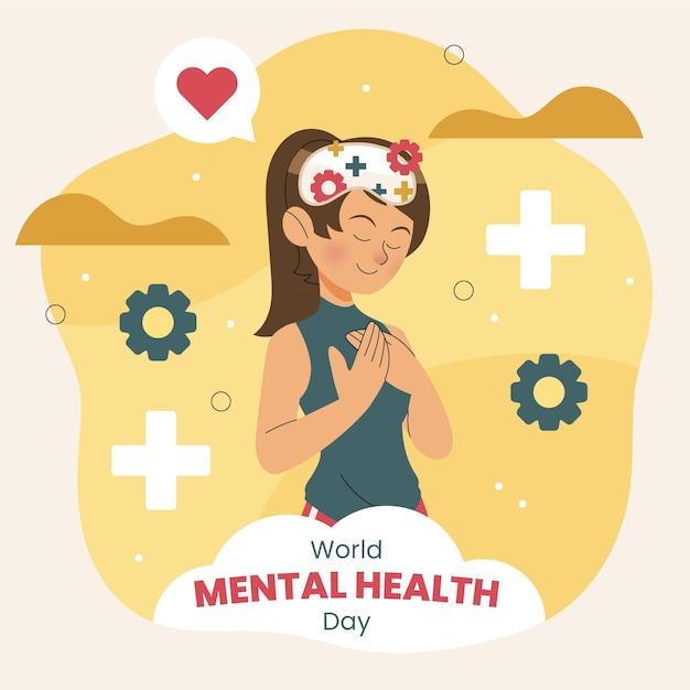 Hand getekend wereld geestelijke gezondheid dag Premium Vector