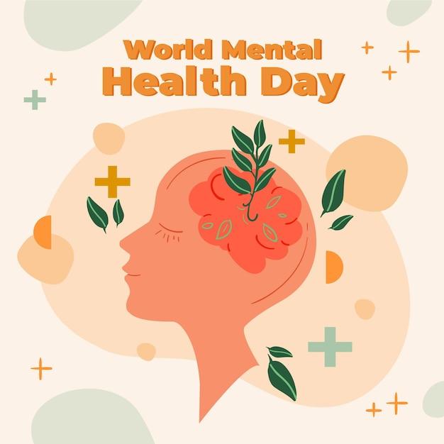 Hand getekend wereld geestelijke gezondheidsdag met hersenen en bladeren Premium Vector