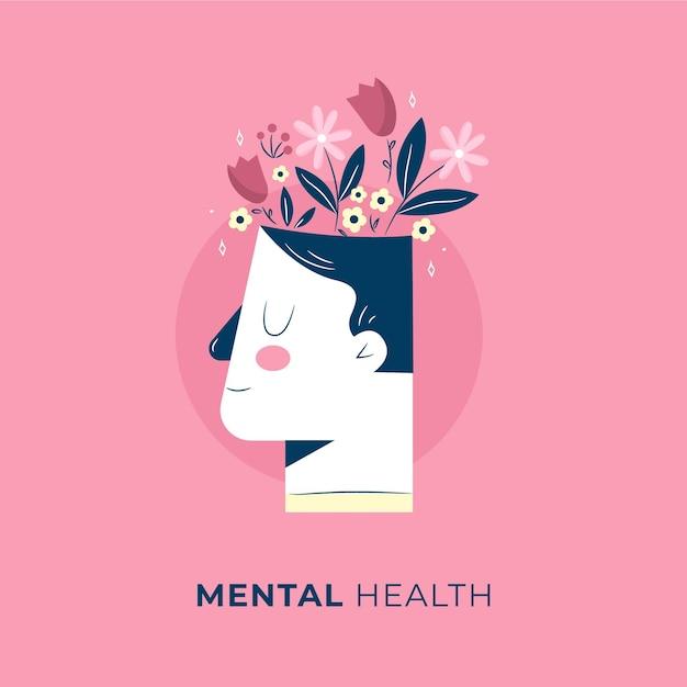 Hand getekend wereld geestelijke gezondheidsdag met hoofd en bloemen Premium Vector