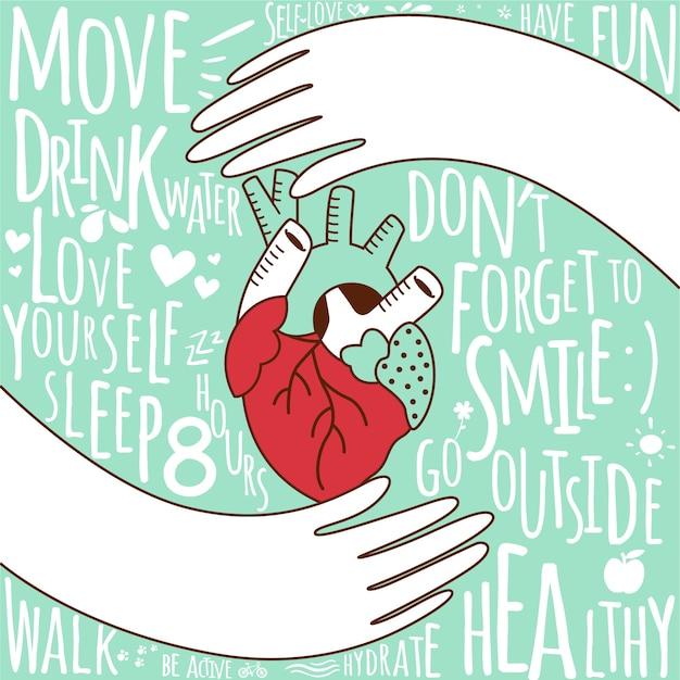 Hand getekend wereld gezondheid dag achtergrond Gratis Vector