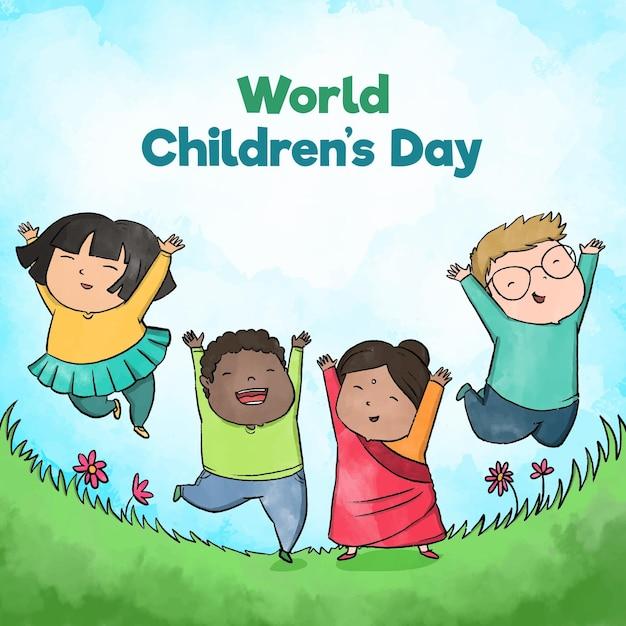 Hand getekend wereld kinderdag concept Gratis Vector