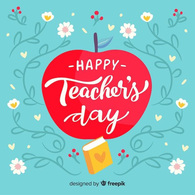 Hand getekend wereld leraren dag concept Gratis Vector