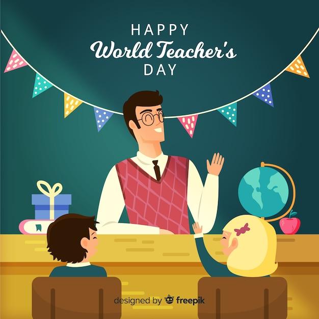 Hand getekend wereld leraren dag met garland Gratis Vector