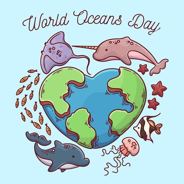 Hand getekend wereld oceanen dag concept Gratis Vector
