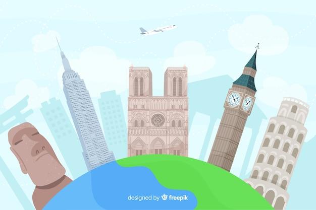 Hand getekend wereld toerisme dag met bezienswaardigheden Gratis Vector