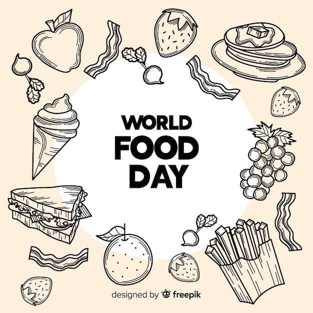 Hand getekend wereld voedsel dag met snoep en fast food Gratis Vector
