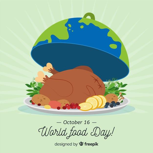Hand getekend wereld voedsel dag met turkije Gratis Vector