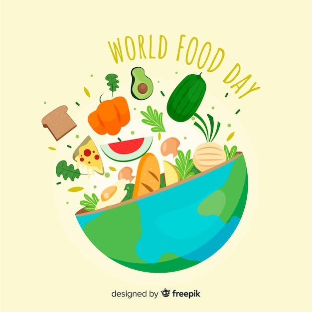 Hand getekend wereld voedsel dag Gratis Vector