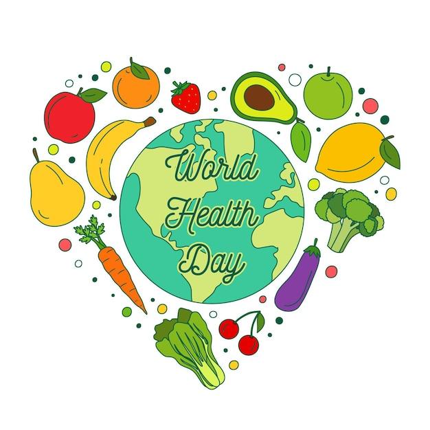 Hand getekend wereldgezondheidsdag illustratie met groenten en fruit Gratis Vector