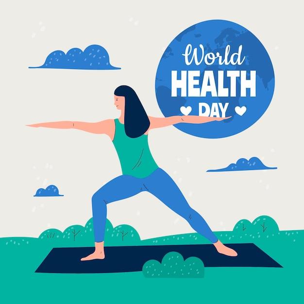 Hand getekend wereldgezondheidsdag illustratie met vrouw doet yoga Gratis Vector