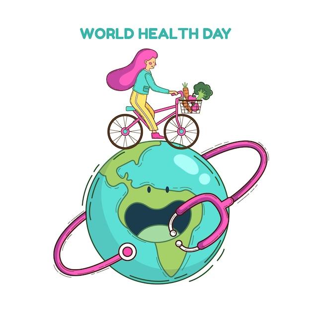 Hand getekend wereldgezondheidsdag illustratie met vrouw en fiets op de planeet Gratis Vector