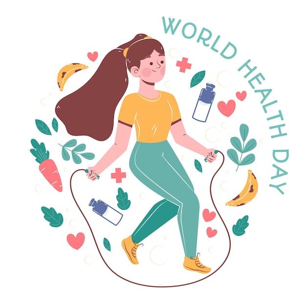 Hand getekend wereldgezondheidsdag illustratie met vrouw springtouw Gratis Vector
