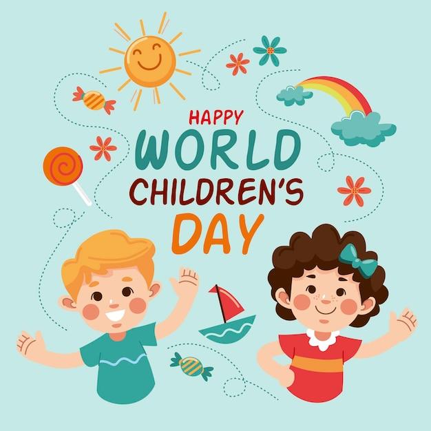 Hand getekend wereldkinderen dag Premium Vector