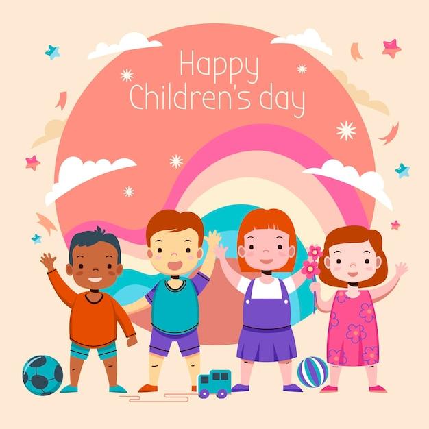 Hand getekend wereldkinderen dag Gratis Vector