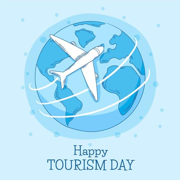 Hand getekend wereldtoerisme dag Gratis Vector