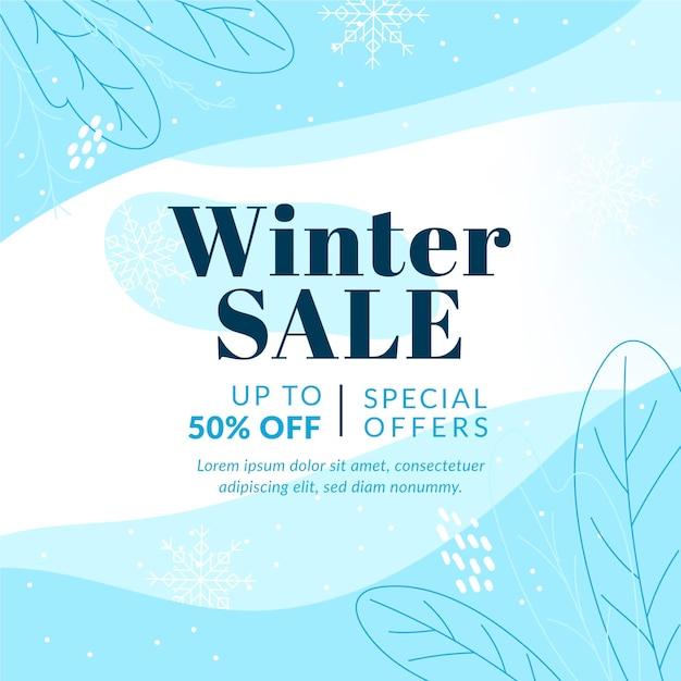 Hand getekend winter verkoop Premium Vector