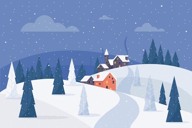Hand getekend winterlandschap Premium Vector