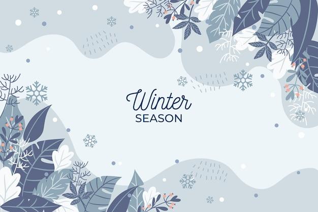 Hand getekend winterseizoen achtergrond Premium Vector