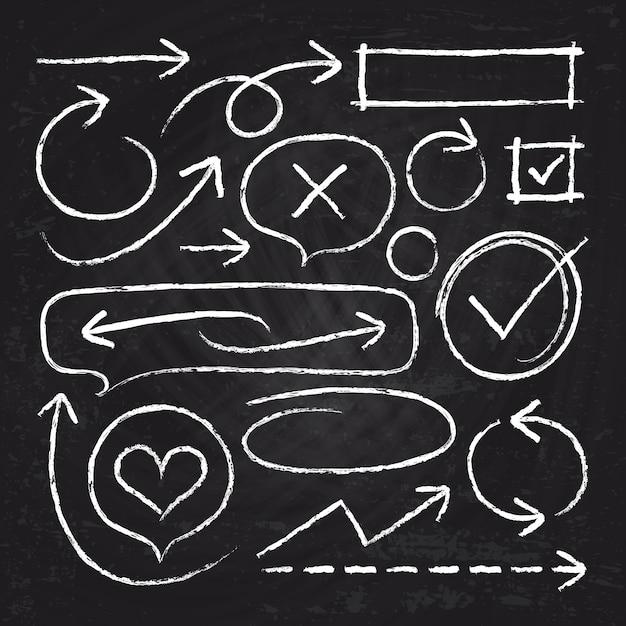Hand getekend wit krijt pijlen, cirkelframes en schets grafische elementen geïsoleerd op blackboard vector set. illustratie van de pijllijn van de krijtschets en gekrabbel grunge borstel ruw Premium Vector