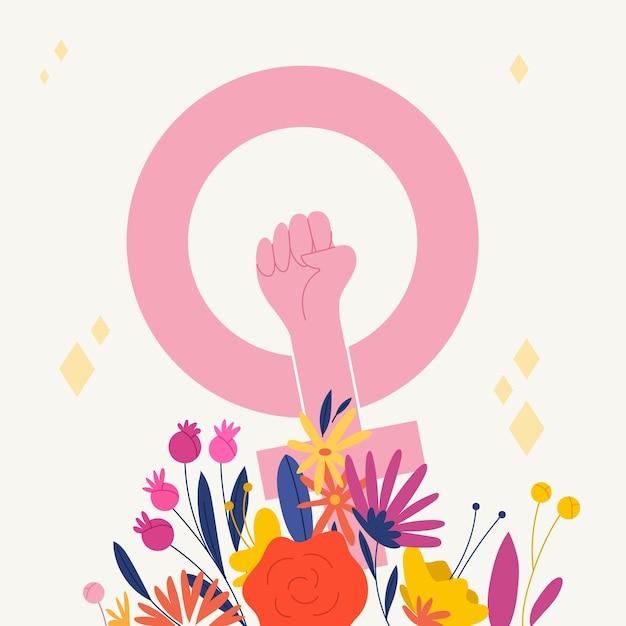 Hand getekend womens dag concept Gratis Vector