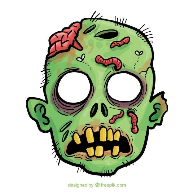 Hand getekend zombie halloween masker Premium Vector