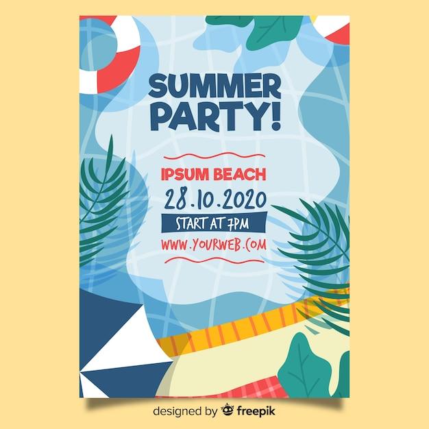 Hand getekend zomer partij poster sjabloon Gratis Vector