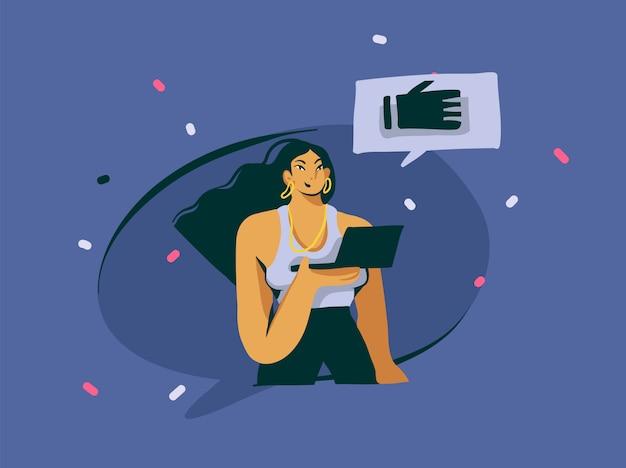 Hand getekende abstracte cartoon moderne influencer meisje karakter illustratie kunst op een witte achtergrond Premium Vector