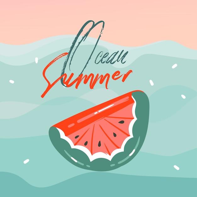 Hand getekende abstracte cartoon zomertijd illustraties kaarten met watermeloen rubberen vlotter boei in blauwe golven, zonsondergang en ocean summer typografie tekst op roze pastel achtergrond Premium Vector