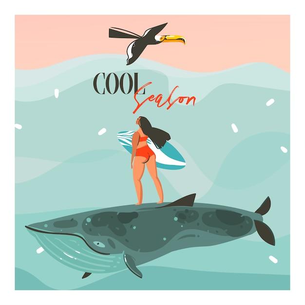 Hand getekende abstracte cartoon zomertijd illustraties sjabloon kaarten met surfen meisje, toekanvogel op blauwe golven en moderne typografie cool seizoen op roze zonsondergang achtergrond Premium Vector