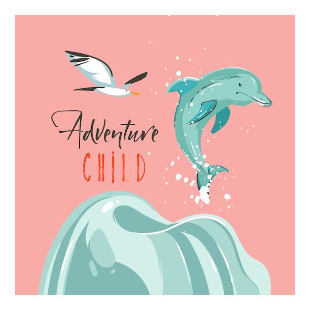 Hand getekende abstracte cartoon zomertijd illustraties sjabloon kaarten met zonsondergang, zeemeeuw vogels, dolfijn en avontuur kind typografie tekst op strand op roze pastel achtergrond Premium Vector