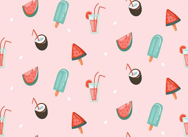 Hand getekende abstracte grafische cartoon zomertijd platte illustraties naadloze patronen met cocktails, watermeloenen en ijs geïsoleerd op roze pastel achtergrond Premium Vector