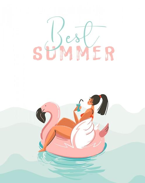 Hand getekende abstracte leuke zomertijd illustratie kaart met meisje zwemmen op roze flamingo float cirkel in blauwe oceaan golven met moderne kalligrafie beste zomer geïsoleerd op wit Premium Vector