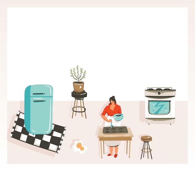 Hand getekende abstracte moderne cartoon kookles illustraties poster met retro vintage vrouw chef, koelkast en plaats voor uw tekst op witte achtergrond Premium Vector