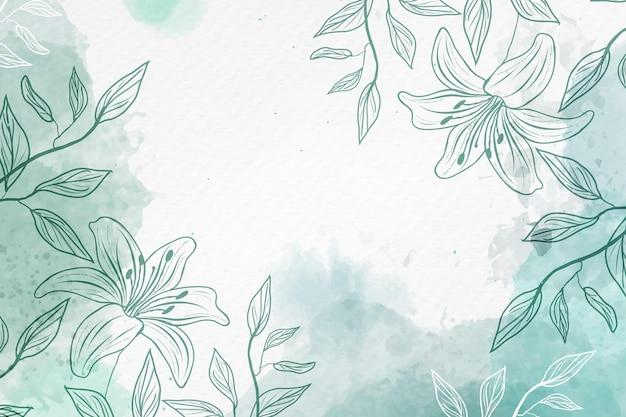 Hand getekende achtergrond met pastel bloemen kopiëren ruimte Gratis Vector