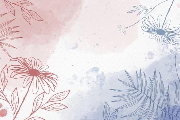 Hand getekende achtergrond met pastel bloemen Gratis Vector