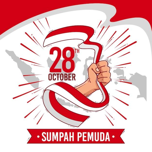 Hand getekende achtergrond sumpah pemuda Gratis Vector