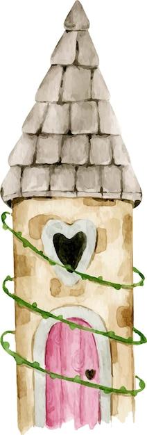 Hand getekende aquarel sprookjes prinses magische bos kasteel met hartvormige raam, roze deur in bladeren. Premium Vector