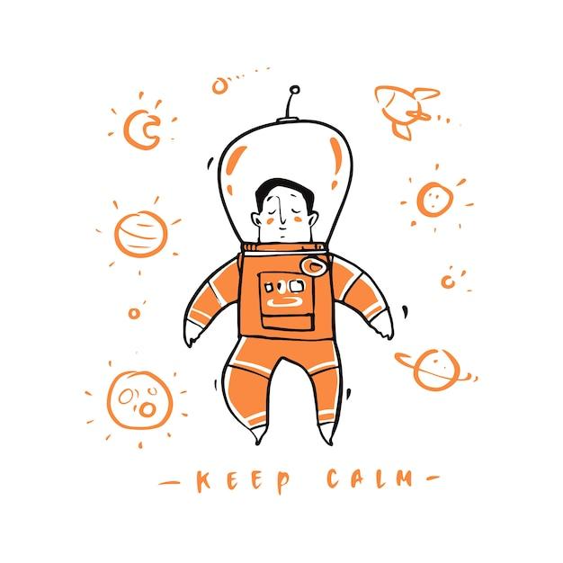 Hand getekende astronaut in de ruimte. Premium Vector