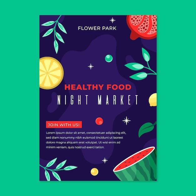 Hand getekende avondmarkt flyer Gratis Vector