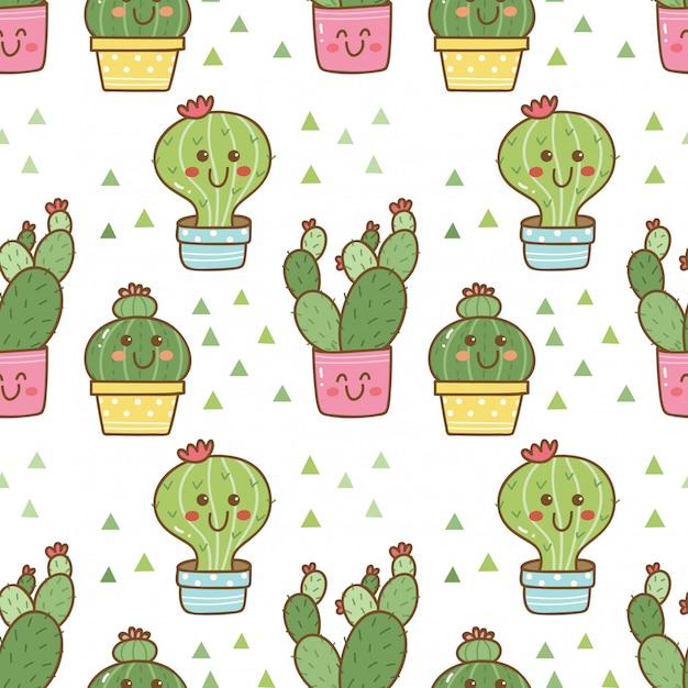 Hand getekende cactus naadloze patroon Premium Vector