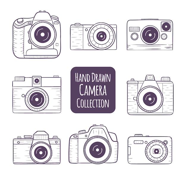 Hand getekende camera collectie vector gratis download for Camera gratis