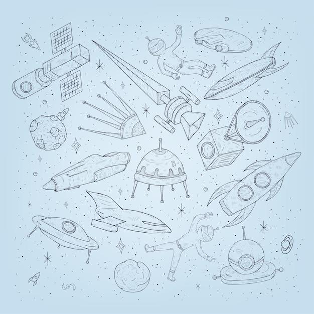 Hand getekende cartoon ruimte planeten, shuttles, raketten, satellieten, kosmonaut en andere elementen Premium Vector