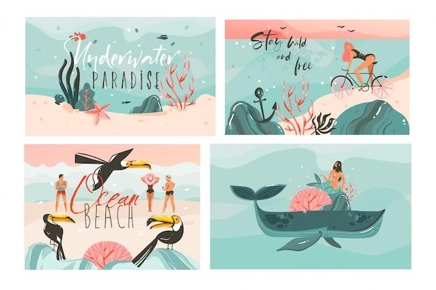 Hand getekende cartoon zomertijd illustraties kaarten sjabloon collectie set met strandmensen, zeemeermin en walvis, zonsondergang en tropische vogels op witte achtergrond Premium Vector